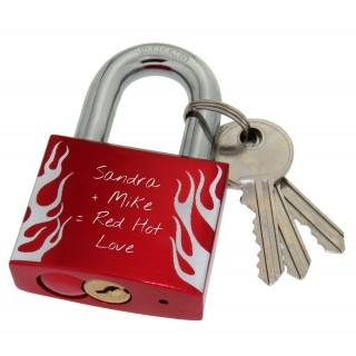 Liebesschloss mit Gravur - Alu rot - Fire