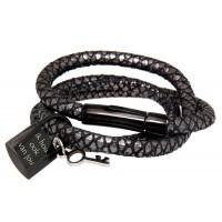 Wickelarmband mit Mini-Liebesschloss und Gravur